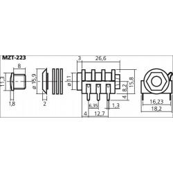 Monacor MZT-223 - Jack Stereo 6.35mm for PCB (Unit)