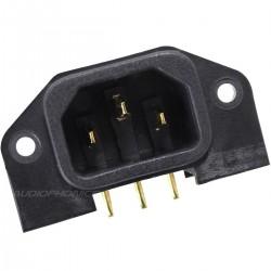 AUDIOPHONICS ES-2G Embase IEC Mâle C14 Coudé Pour Circuit Imprimé plaquée OR
