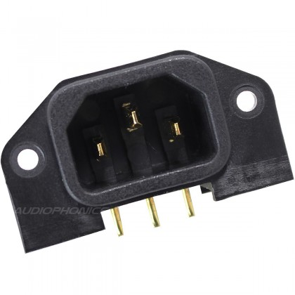 ELECAUDIO ES-2G Embase IEC Mâle Coudé Pour Circuit Imprimé plaquée OR