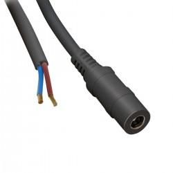 Câble Jack vers câble nu DC 5.5mm / 2.1mm Noir 2.5m