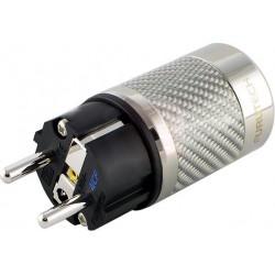 FURUTECH FI-E50 NCF (R) Connecteur secteur Schuko plaqué Rhodium - Carbone Ø20mm