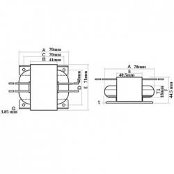 Transformateur R-CORE 30VA 20-0-20V