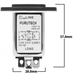 FURUTECH AC-1501(R) Embase IEC plaquée Rhodium filtre Anti-Parasites/EMI 230V 1A