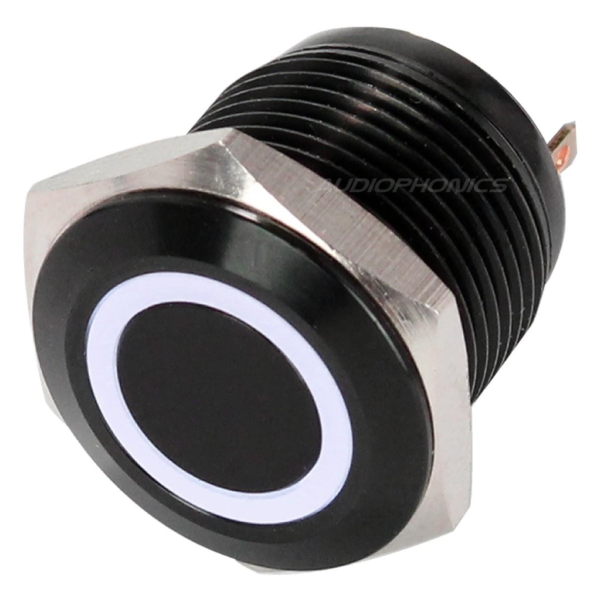 Bouton Poussoir Aluminium Anodisé avec Cercle Lumineux Blanc 1NO 250V 5A Ø16mm Noir