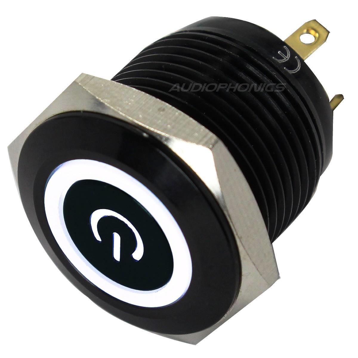 Bouton Poussoir Aluminium Anodisé avec Symbole Power Lumineux Blanc 1NO 250V 5A Ø16mm Noir