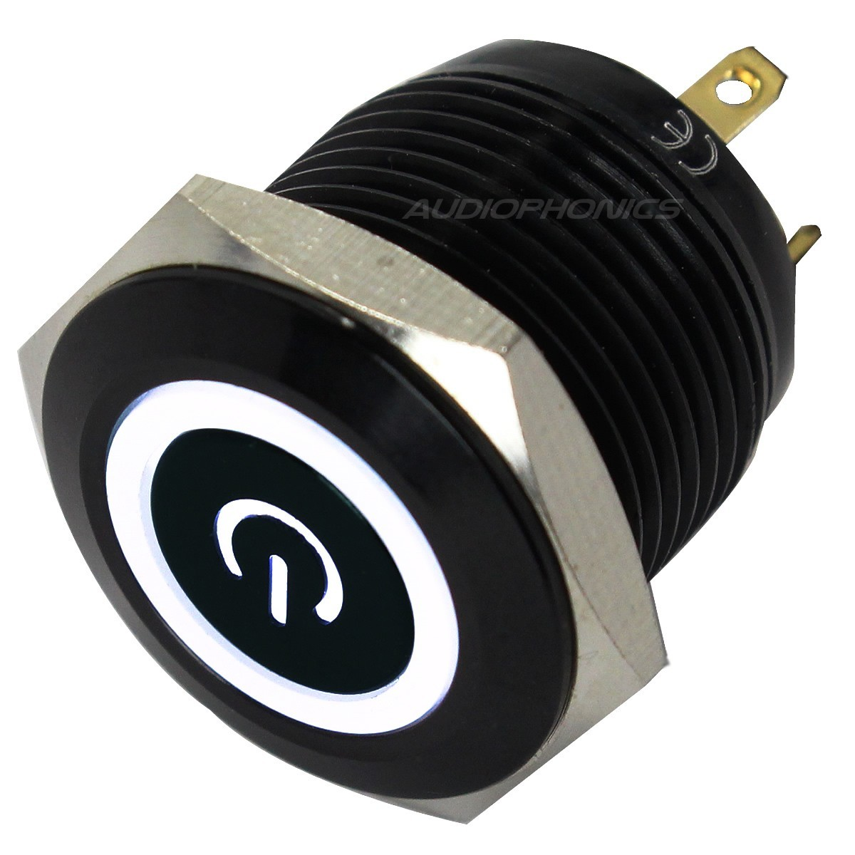 Push Button Anodized Aluminium with White Light Power Symbol 250V 5A Ø16mm Black