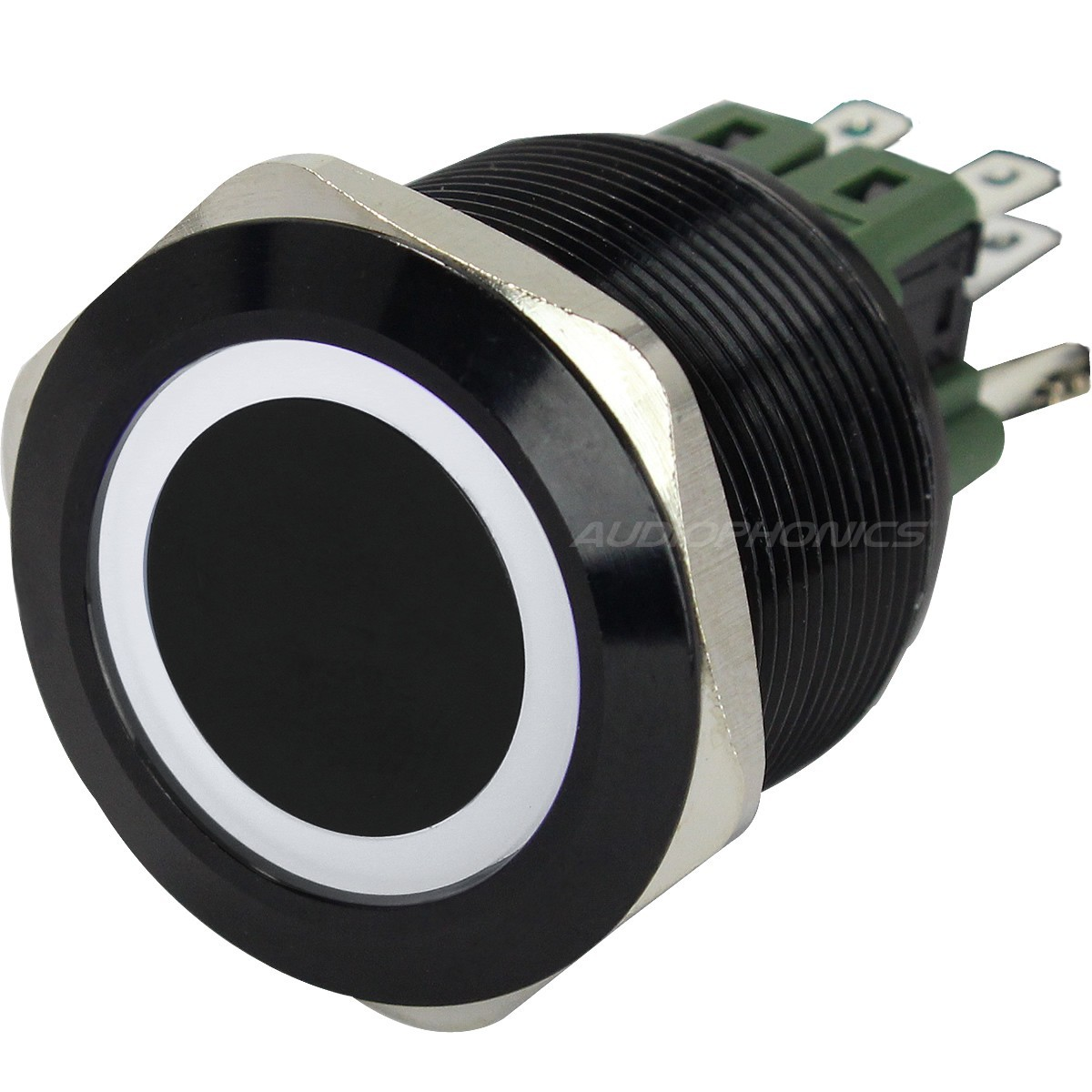 Interrupteur Aluminium Anodisé avec Cercle Lumineux Blanc 2NO2NC 250V 5A Ø 25mm Noir