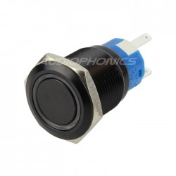 Black Aluminium Momentary Switch with blue ring 250V 5A Ø19mm