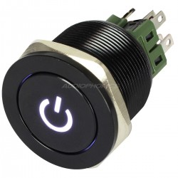 Aluminium Switch with White Light Symbol 2NO2NC 250V 5A Ø25mm Black
