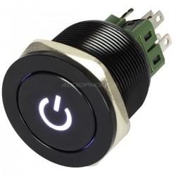 Interrupteur Aluminium Anodisé avec Symbole Lumineux Blanc 2NO2NC 250V 5A Ø 25mm Noir