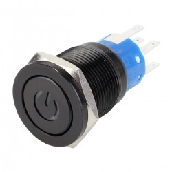 Push Button Anodized Aluminium with White Light Power Symbol 250V 5A Ø19mm Noir