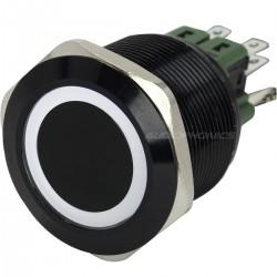 Bouton Poussoir Aluminium Anodisé avec Cercle Lumineux Blanc 250V 5A Ø25mm Noir