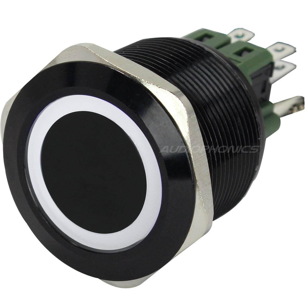Anodized Aluminium Push Button with White Circle Light 1NO1NC 250V 5A Ø25mm Black