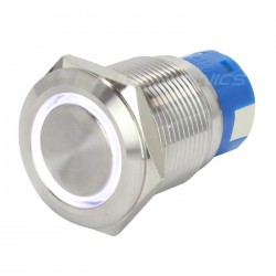 Bouton Poussoir Inox avec Cercle Lumineux Blanc 1NO1NC 250V 5A Ø 19mm Argent