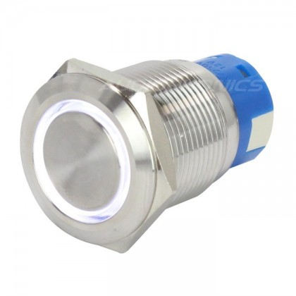 Bouton poussoir inox argent Cercle lumineux blanc 250V 5A Ø19mm