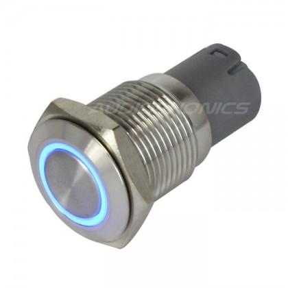 Pushbutton metal blue ring 250V 3A Ø16mm