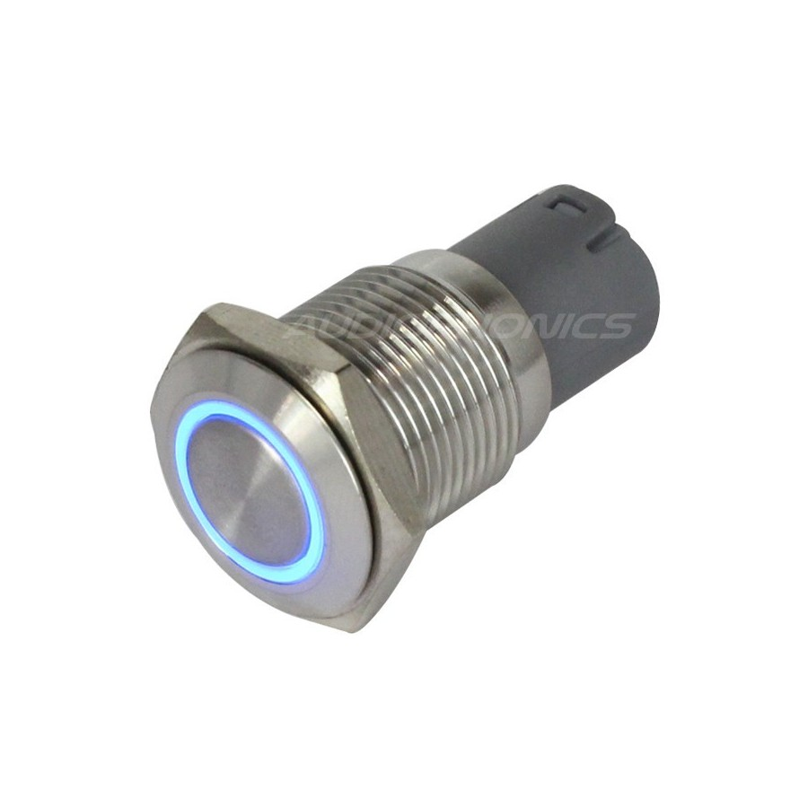 bouton poussoir inox argent cercle lumineux bleu 250v 3a 16mm audiophonics. Black Bedroom Furniture Sets. Home Design Ideas