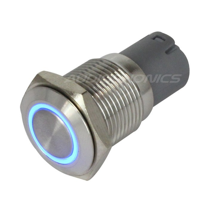Stainless Steel Push Button with Blue Light Circle 1NO1NC 250V 3A Ø16mm Silver