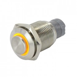 Bouton poussoir inox argent Cercle lumineux jaune 250V 3A Ø16mm
