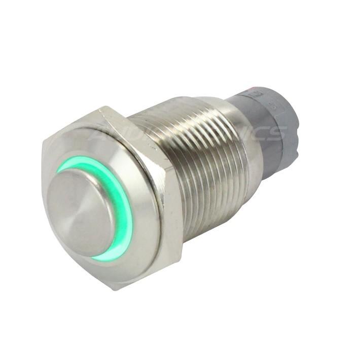 Bouton Poussoir Inox avec Cercle Lumineux Vert 1NO1NC 250V 3A Ø 16mm Argent