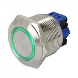 Bouton Poussoir Inox avec Cercle Lumineux Vert 1NO1NC 250V 5A Ø25mm Argent