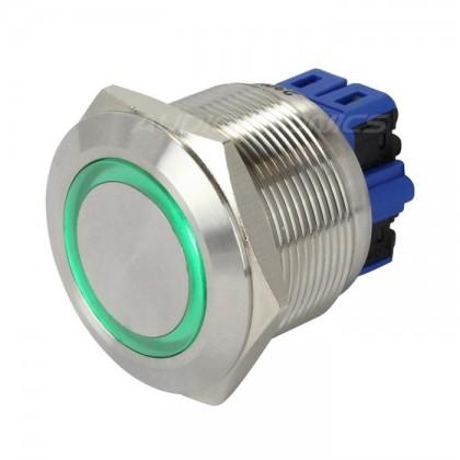 Bouton Poussoir Inox avec Cercle Lumineux Vert 250V 5A Ø25mm Argent