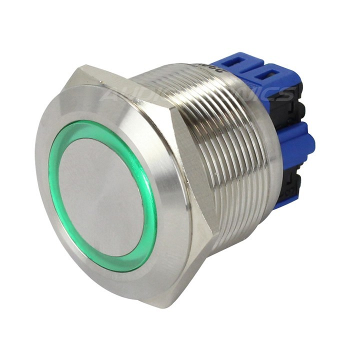 Push Button Stainless Steel with Green Light Circle 250V 5A Ø25mm Silver