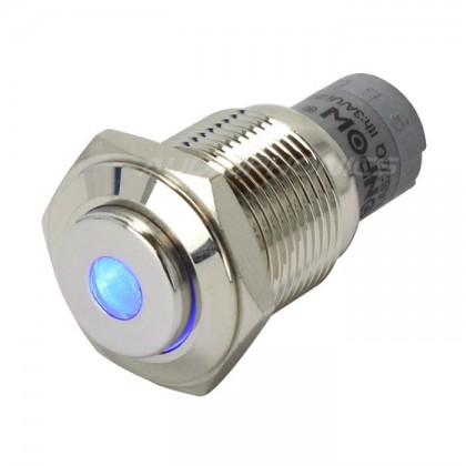 Bouton poussoir inox argent LED bleu 250V 3A Ø16mm