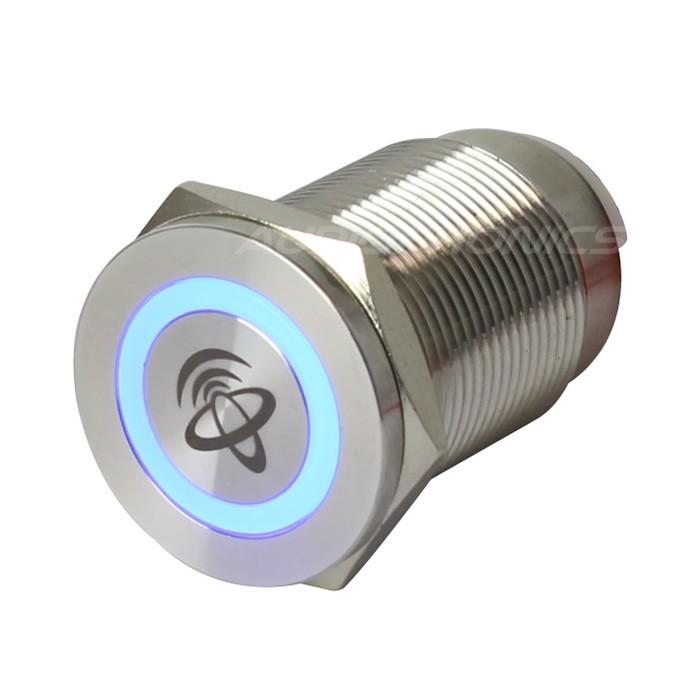 ELECAUDIO Interrupteur Aluminium avec Cercle Lumineux Bleu 1NO1NC 250V 5A Ø 19mm Argent