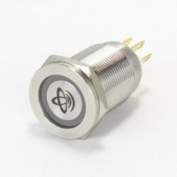 ELECAUDIO Interrupteur Aluminium Silver & Cercle Bleu 250V 5A Ø19mm