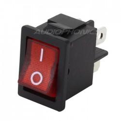 Interrupteur à Bascule avec Éclairage Rouge ON-OFF 250V 3A Noir