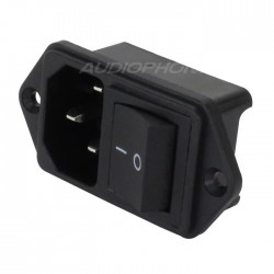 IEC C14 Power Socket with Toggle Switch ON-OFF 250V 15A Black
