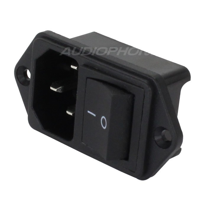 IEC C14 Power Socket with Toggle Switch ON-OFF 250V 10A Black