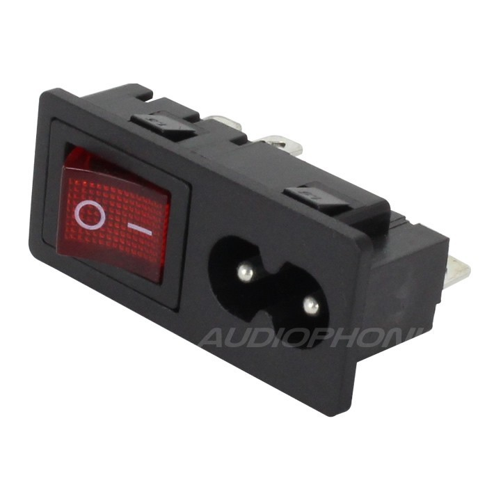 IEC C8 Power Socket with Red Light Toggle Switch ON-OFF 250V 2.5A Black