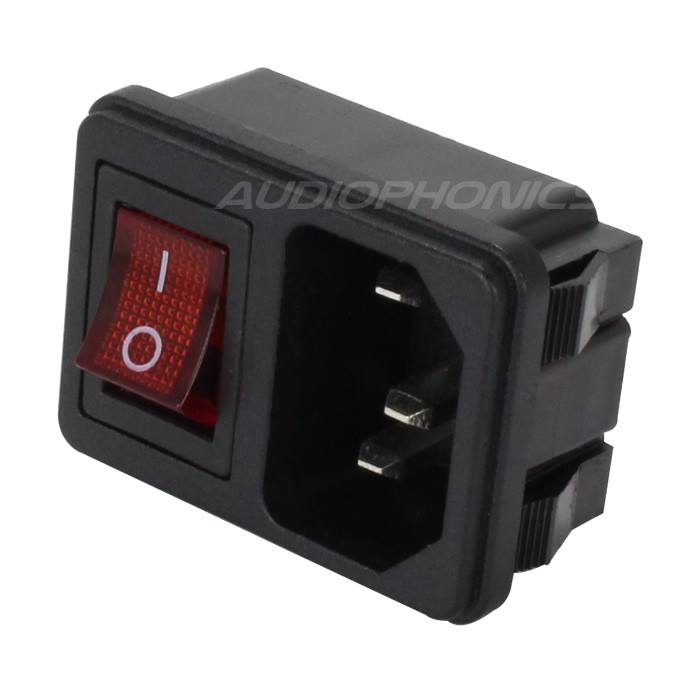 IEC C14 Power Socket with Red Light Toggle Switch ON-OFF 250V 10A Black