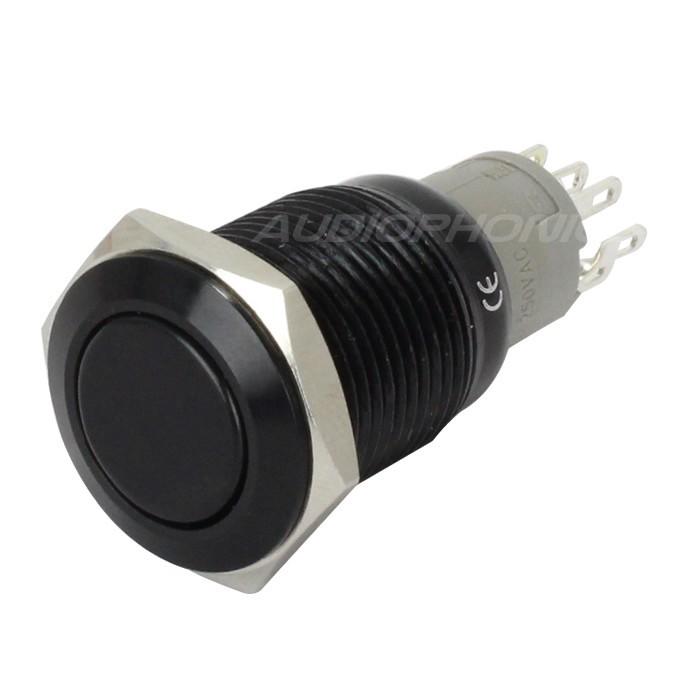 Interrupteur aluminium anodisé noir 250V 3A Ø16mm
