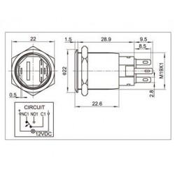 Interrupteur aluminium anodisé noir Cercle lumineux blanc 250V 5A Ø19mm