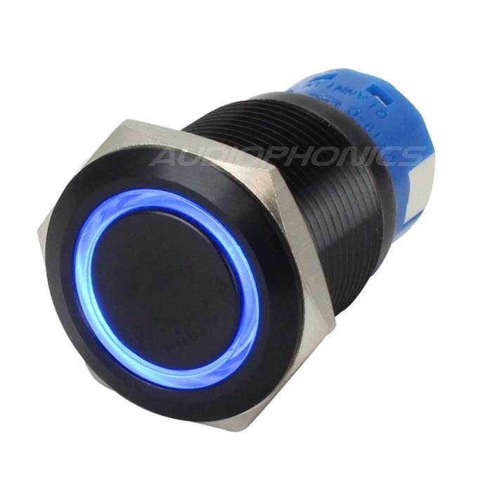 Interrupteur Aluminium Anodisé avec Cercle Lumineux Bleu 1NO1NC 250V 5A Ø 19mm Noir