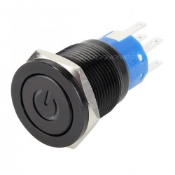 Interrupteur aluminium anodisé noir Symbole lumineux blanc 250V 5A Ø19mm