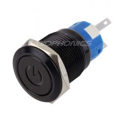 Interrupteur aluminium anodisé noir Symbole lumineux bleu 250V 5A Ø19mm