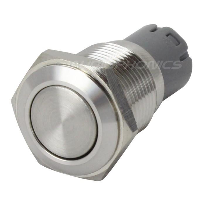 Interrupteur Inox 2NO2NC 250V 3A Ø16mm Argent