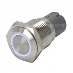 Interrupteur Inox avec Cercle Lumineux Blanc 2NO2NC 250V 3A Ø 16mm Argent