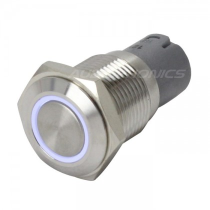 Switch button Stainless white ring 250V 3A Ø16mm