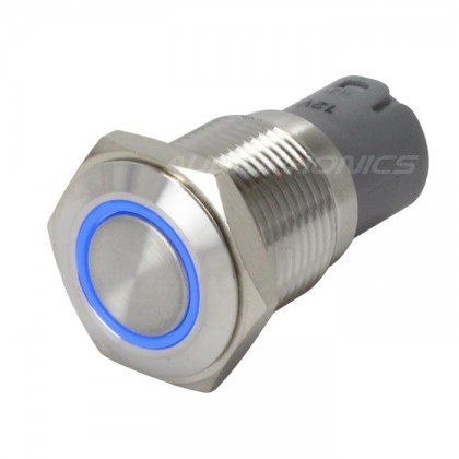 Switch button Stainless blue ring 250V 3A Ø16mm