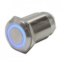 Interrupteur Inox avec Cercle Lumineux Bleu 2NO2NC 250V 5A Ø19mm Argent