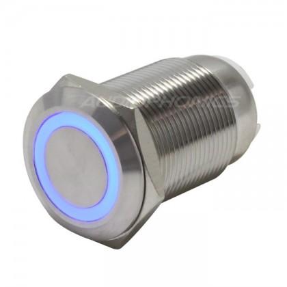 Interrupteur INOX Cercle bleu 250V 5A Ø19mm