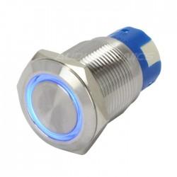 Interrupteur Inox avec Cercle Lumineux Bleu 1NO1NC 250V 5A Ø19mm Argent
