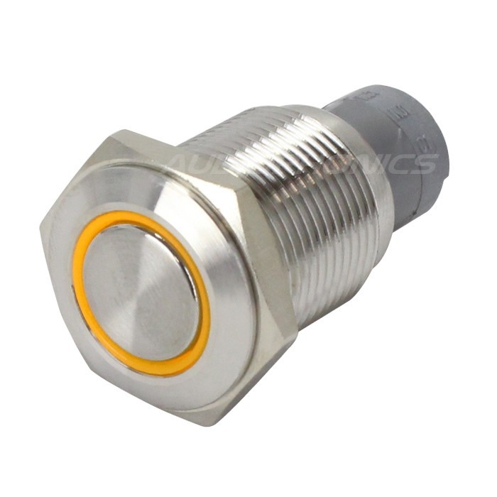 Interrupteur Inox avec Cercle Lumineux Jaune 1NO1NC 250V 3A Ø16mm Argent