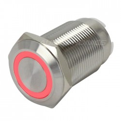 Stainless Steel Switch with Red Light Circle 1NO1NC 250V 5A Ø19mm Silver