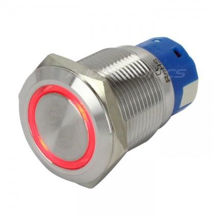 Interrupteur inox argent Cercle lumineux rouge 250V 5A Ø19mm